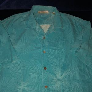 Turquoise Tommy Bahama button down 100% silk sz XL